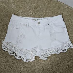 *Indigo Rein White Raw Hem Crochet Junior Shorts